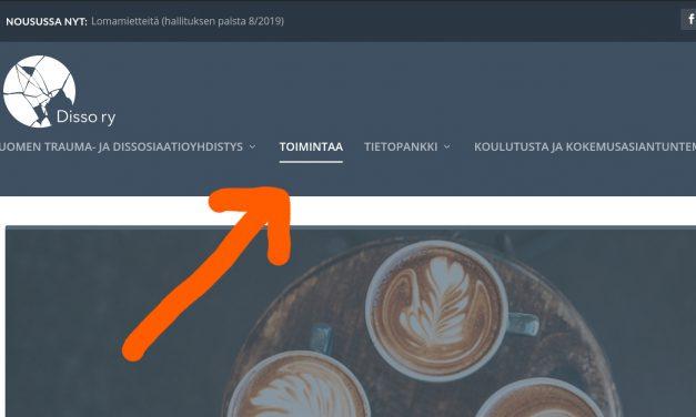 Toimintaa-sivu kerää tiedot Disso ry:n paikallisesta toiminnasta
